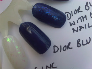 Boots No7 Stay Perfect Polish, Dior Blue Denim and Tuxedo Swatched and Nails Inc Nail Effects